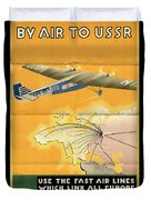 By Air To Ussr With The Soviet Union's Chief Cities - Vintage Poster Folded Duvet Cover