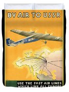 By Air To Ussr With The Soviet Union's Chief Cities - Vintage Poster Restored Duvet Cover