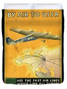 By Air To Ussr With The Soviet Union's Chief Cities - Vintage Poster Vintagelized Duvet Cover