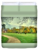 Cabin And Autumn Trees Duvet Cover