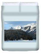 Cabin On Frozen Lake Duvet Cover