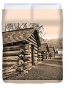 Cabins At Valley Forge In Sepia Duvet Cover