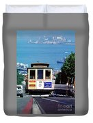 Cable Car 18 Heading Up The Hyde Street Line Duvet Cover