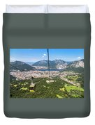 Cable Car Above The City Of Lecco Duvet Cover