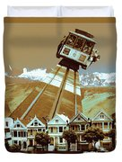Cable Car Fly - San Francisco Collage Duvet Cover
