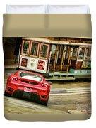 Cable Car Meets Ferrari Duvet Cover