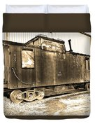 Caboose Black And White Duvet Cover