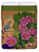 Cactus Flower Lizard Duvet Cover
