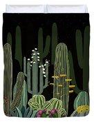 Cactus Garden At Night Duvet Cover