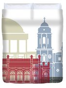 Cadiz Skyline Poster Duvet Cover