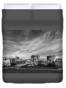 Caerphilly Castle Panorama Mono Duvet Cover