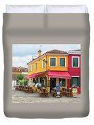 Cafe In Burano Duvet Cover