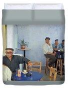 Cafe In Greece Duvet Cover