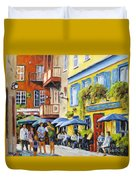 Cafe In The Old Quebec Duvet Cover