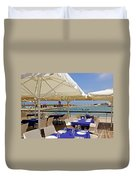 Cafe In White And Purple Duvet Cover