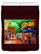 Cafe On Prince Arthur  In Montreal  Duvet Cover