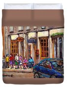 Outdoor Cafe Painting Vieux Montreal City Scenes Best Original Old Montreal Quebec Art Duvet Cover