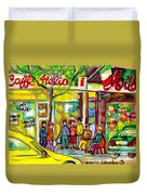 Caffe Italia And Milano Charcuterie Montreal Watercolor Streetscenes Little Italy Paintings Cspandau Duvet Cover