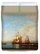 Caiques And Sailboats At The Bosphorus Duvet Cover