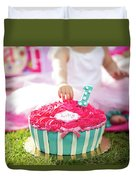 Cake Smash Pink Cake With Blue And White Stripes Duvet Cover