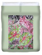 Caladiums Tropical Plant Art Duvet Cover