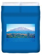 Calbuco Volcano Over Llanquihue Lake From Puerto Varas-chile Duvet Cover