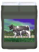 Calf Suckling - 3d Render Duvet Cover