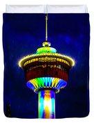 Calgary Tower At Night Duvet Cover