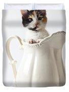 Calico Kitten In White Pitcher Duvet Cover