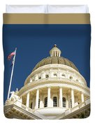 California Capitol Cupola And Flag Duvet Cover