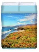 California Coast Wildflowers On Cliffs Ap Duvet Cover