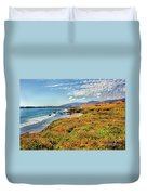 California Coast Wildflowers On Cliffs Duvet Cover
