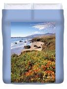 California Coast Wildflowers Vertical Format Duvet Cover