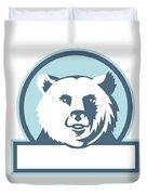California Grizzly Bear Head Smiling Circle Retro Duvet Cover