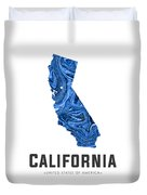 California Map Art Abstract In Blue Duvet Cover