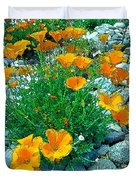 California Poppie In River Rock Duvet Cover