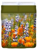 California Poppies And Lupine Wildflowers Duvet Cover