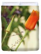 California Poppies In The Garden Duvet Cover
