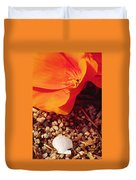 California Poppy And Scallop Shell Duvet Cover