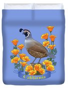 California Quail And Golden Poppies Duvet Cover by Crista Forest
