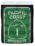 California Route 1 Pacific Coast Highway Sign Recycled Vintage License Plate Art Duvet Cover