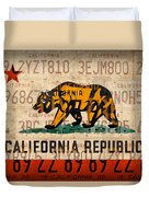 California State Flag Recycled Vintage License Plate Art Duvet Cover