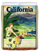 California This Summer Restored Vintage Poster Duvet Cover