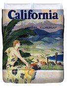 California This Summer - Travel By Train - Vintage Poster Folded Duvet Cover