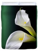 Calla Lily Green Black Duvet Cover