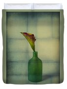 Calla Lily In Green Vase Duvet Cover
