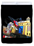 Callao Metro Entrance At Night Madrid Duvet Cover