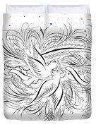 Calligraphic Love Birds Duvet Cover