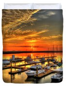 Calm Waters Bull River Marina Tybee Island Savannah Georgia Art Duvet Cover