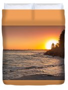 Caloundra Beach Sunset Duvet Cover